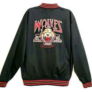 NWOT LRG Black L/Sleeve Varsity Jacket Wolf Back